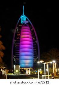 burj al arab at the night, dubai, uae