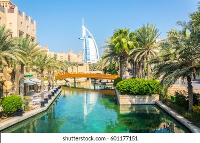 Burj al Arab seen from Madinat Jumeirah hotel in Dubai, UAE