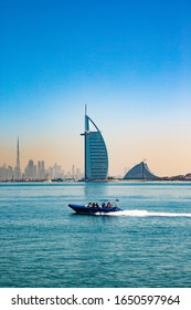 Burj al Arab View and blue sea from Dubai Palm Jumeirah, UAE. on 11 January, 2020