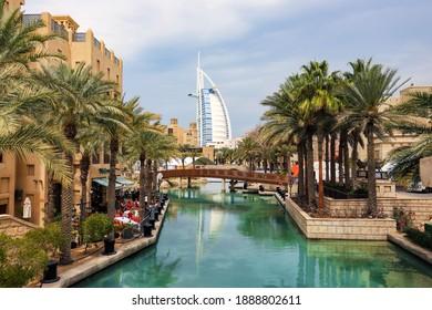 Burj Al Arab view from Madinat Jumeirah. United Arab Emirates Dubai March 2019