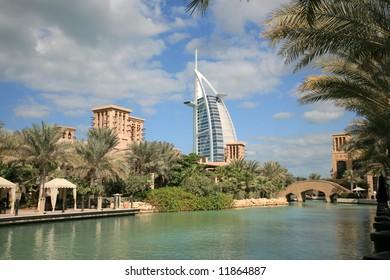 Burj Arab view from Madinat Jumeirah waterway