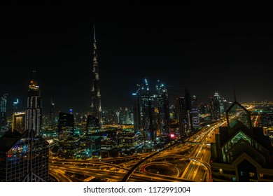 BURJ KHALIFA, DUBAI, UAE-20th APRIL 2017:-The Burj Khalifa is the tallest building in the world, it takes on a whole new persona at night