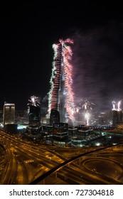 BURJ KHALIFA, DUBAI, UNITED ARAB EMIRATES, JANUARY 01, 2014: New year celebration with fireworks in Burj Khalifa