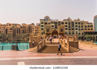 BURJ KHALIFA GROUNDS, DUBAI, UAE-20th APRIL 2017:-The Burj Khalifa is the tallest building in the world, and the grounds incorporate lakes and boulevardes