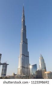 Burj Khalifa Tower in Dubai. Dubai - UAE. 20 January 2018