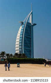 BURJ-AL-ARAB, DUBAI,UAE-20th SEPTEMBER 2017:-The Burj,Al-Arab, built to resemble a ship on the arabian sea, is a seven star hotel built on its own island. it is the 3rd tallest in the world.