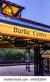 Burke, USA - April 16, 2017: Burke Centre train station platform with sign