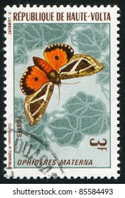 BURKINA FASO - CIRCA 1972: stamp printed by Burkina Faso, shows butterfly, circa 1972