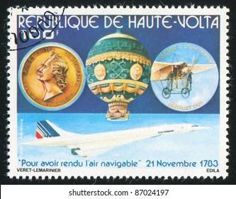 BURKINA FASO CIRCA 1978: stamp printed by Burkina Faso, shows Montgolfier, hot air balloon and memorial medal, circa 1978