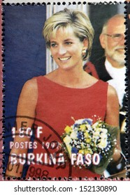BURKINA FASO - CIRCA 1997: A stamp printed in Burkina Faso shows Diana of Gales, circa 1997