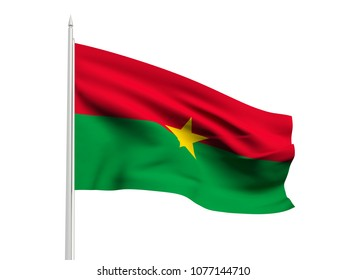 Burkina Faso flag floating in the wind with a White sky background. 3D illustration.