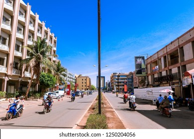 Burkina Faso, Ouagadougou - August 23, 2018: View to the Road, Cappuccino restaurant and the Splendid Hotel in the heart of City Center