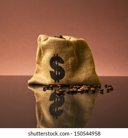 burlap coffee sack with dollar icon