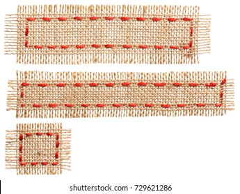 Burlap Fabric Patch Label, Sackcloth Ribbon of Linen Jute, Sack Cloth Tag Isolated over White background