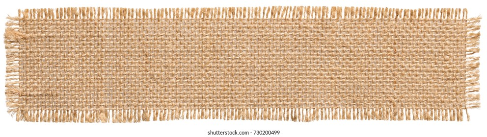 Burlap Fabric Patch Label, Sackcloth Piece of Linen Jute, Sack Cloth Tag Isolated over White background