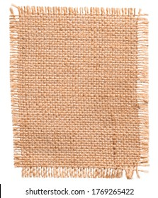Burlap Fabric Patch Piece, Jute Sack Cloth Texture, Textile Isolated over White Background