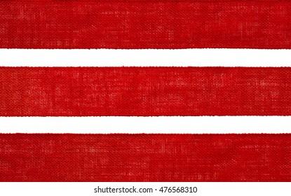 Burlap Fabric Ribbon Texture, Sack Cloth Edge, Red Hessian on White