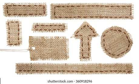 Burlap Fabric Tag Label, Rustic Hessian Cloth Patch Ribbon, Torn Sackcloth Isolated on White