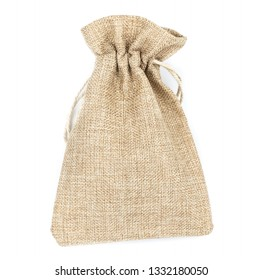Burlap gift bags on isolated white background