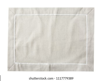 Burlap kitchen towel table cloth isolated.Empty copy space blanket.