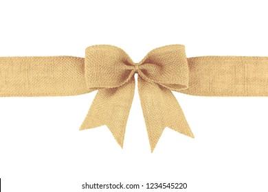 Burlap ribbon bow isolated on white background