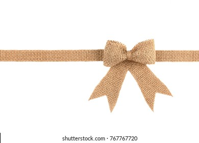 Burlap ribbon bow isolated on white background