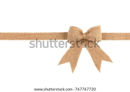 Burlap Ribbon Bow Isolated On White Stock Photo (Edit Now) 767767720 ...