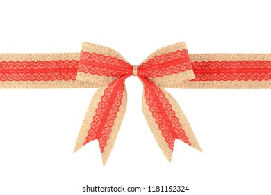 Burlap ribbon bow with red lace isolated on white background