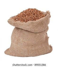 Burlap sack with buckwheat