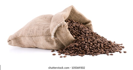 Burlap sack full of coffee beans isolated on white background