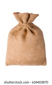 Burlap sack isolated on a white background with empty space - sackcloth