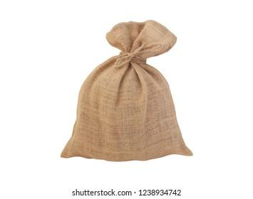 Burlap sack with jute rope isolated on white background