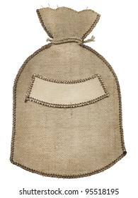 Burlap sack with a label on a white background