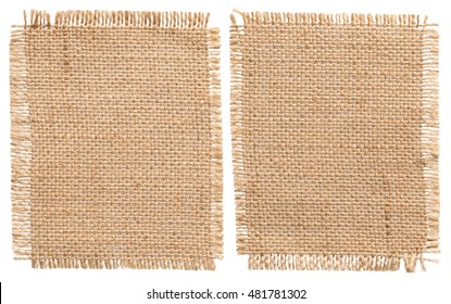 Burlap Sacking Cloth Pieces, Rustic Linen Bagging Fabric, Sack Patch Isolated over White