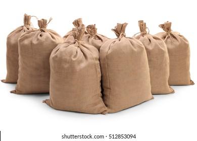 Burlap sacks isolated on white background