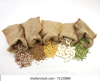 Burlap sacks with a misc legumes beans