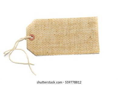 Burlap tag or label with attached string on white with room for text