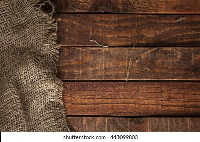 Burlap texture on wooden table