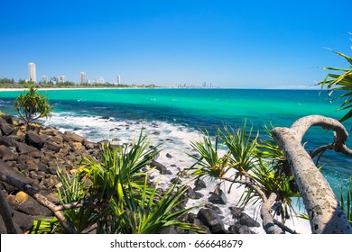 Burleigh Heads looking north towards the Gold Coast skyline in Queensland, Australia