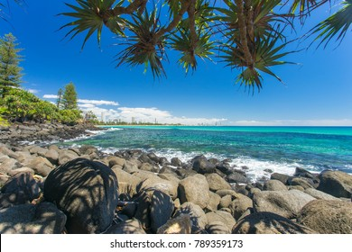 Burleigh Heads on a clear day looking towards Surfers Paradise on the Gold Coast