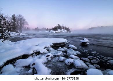 Burliegh Falls Ontario Canada In Winter Frozen Morning Sunrise
