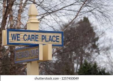 Burlington, NJ - November 27, 2018: We Care Place is on a Street sign within the Burlington campus of Masonic Village.