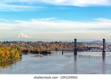 Burlington Northern Railroad Bridge and Mt. Hood seen from Portland, Oregon