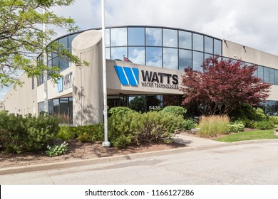 Burlington, Ontario, Canada- July 28, 2018: Watts Water Technologies Canada in Burlington. Founded in 1874, Watts Water is a global provider of plumbing, heating, and water quality solutions.