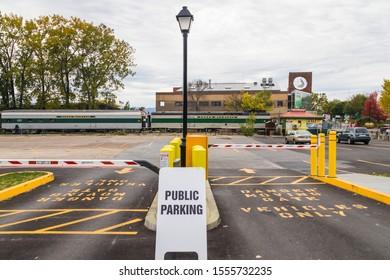 Burlington, USA-20 October 2019 : Burlington scenic Green Mountain train railroad station