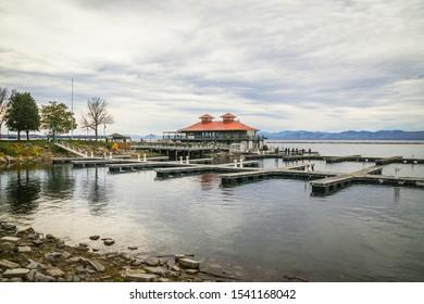 Burlington, USA-20 October 2019 : Burlington Vermont Lake Champlain Shore marina in a cloudy day