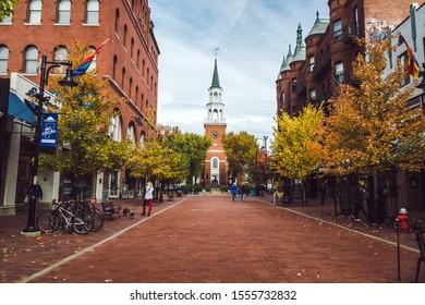 Burlington, USA-20 October 2019 : Burlington Vermont Church Street Marketplace downtown city
