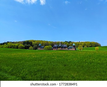 Burlington, Vermont - 05-07-2019: Taken at Shelburne Farm, the beautiful Barn that sits atop the hill overlooks the entire valley and is used as an educational center for children.