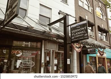 Burlington, Vermont - September 29th, 2019: Vermont Flannel Company store at pedestrian shopping mall Church Street Marketplace in Burlington, Vermont.