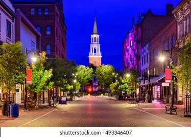Burlington, Vermont, USA cityscape at Church Street Marketplace.